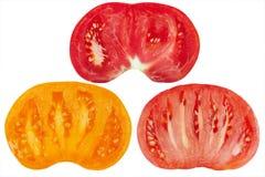 颜色切了三个蕃茄 免版税图库摄影