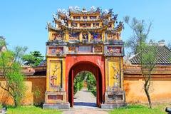 颜色北京皇城,越南联合国科教文组织世界遗产名录 图库摄影