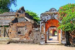 颜色北京皇城,越南联合国科教文组织世界遗产名录 免版税库存照片