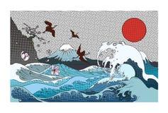 颜色半音富士山背景 与苍鹭鸟和海浪的手拉的日本艺术富士山 库存例证
