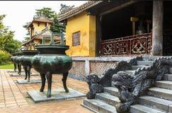 颜色古老城堡的建筑学,越南 库存图片