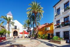 颜色和明亮的围场有老白色教会和美丽的房子的在绿色棕榈中 图库摄影