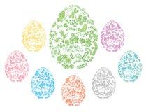 颜色和花卉装饰复活节彩蛋-导航标志 免版税库存照片