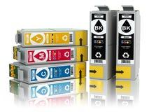 颜色喷墨打印机的弹药筒 CMYK 向量例证
