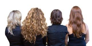 颜色四女孩头发 免版税图库摄影