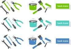颜色图标设置了三个工具 免版税库存图片