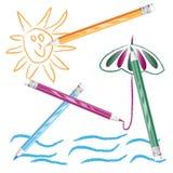 颜色图画铅笔 免版税库存图片