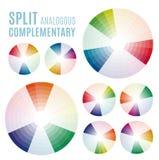 颜色图-轮子心理学-基本颜色意味 分裂近似补全集合 免版税图库摄影