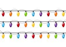 颜色圣诞灯电灯泡 库存图片