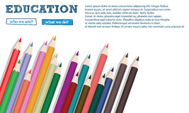 颜色在白色背景关闭隔绝的铅笔横幅  免版税库存图片