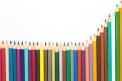 绘画颜色在白色背景的白色backgroundColorful木铅笔书写 免版税库存照片