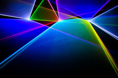 颜色在黑背景的激光 库存照片