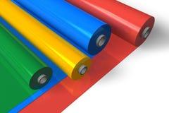 颜色塑料卷 免版税库存照片