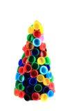 从颜色塑料盖帽的Chriostmas树 免版税库存图片
