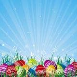 颜色复活节彩蛋向量 库存照片
