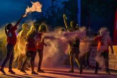 颜色奔跑夜布加勒斯特 库存照片