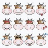 颜色容易的编辑可能的意思号例证集合向量 与母牛面孔的Emoji 图标面带笑容 向量 向量例证