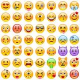 颜色容易的编辑可能的意思号例证集合向量 套Emoji 微笑象 向量例证