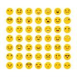 颜色容易的编辑可能的意思号例证集合向量 逗人喜爱的emoji象 平的设计 滑稽的动画片表面 皇族释放例证