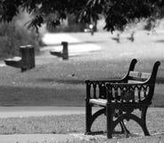 颜色对构成-在道路的长凳在黑白照片的河Severn附近 图库摄影