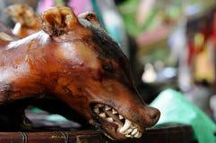 颜色市场在越南,煮熟的狗 库存图片