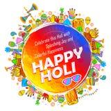 颜色庆祝问候节日的愉快的Holi背景  向量例证