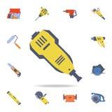 颜色建筑机器象 详细的套颜色建筑工具 优质图形设计 其中一个汇集象为 库存例证