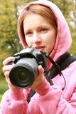 颜色影响低摄影师饱和的妇女 库存照片