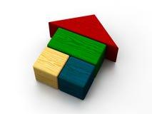 颜色房子玩具 免版税库存照片
