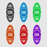 颜色控制按钮 蓝色按球员向量版本 免版税库存图片