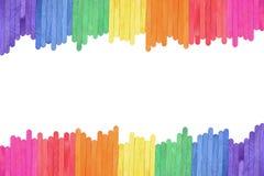 颜色木冰淇凌棍子框架背景 免版税库存图片