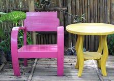 颜色木椅子集合 库存图片