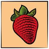 颜色板刻草莓 库存图片