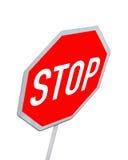 颜色查出一个红色路标终止 免版税库存照片