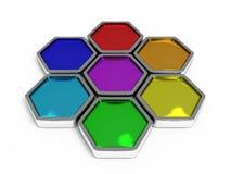颜色查出查出的六角形 图库摄影