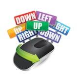 颜色标志和无线计算机老鼠 库存照片