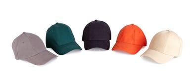 颜色棒球帽 库存图片