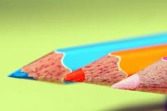 颜色每三支铅笔` s点 免版税库存照片