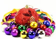 颜色气球和丝带 免版税库存照片