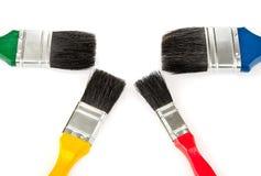 颜色油漆刷绘画集合工具 库存图片