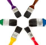 颜色油漆刷绘画集合工具 图库摄影