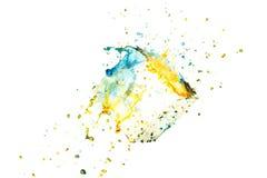 颜色油漆飞溅背景,被隔绝的液体云彩墨水摘要 库存照片