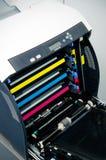 颜色激光打印机墨粉盒 免版税图库摄影