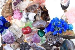 颜色矿物和宝石汇集 免版税库存照片