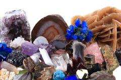 颜色矿物和宝石汇集 免版税库存图片