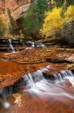 颜色秋天瀑布 库存图片