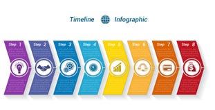 从颜色箭头8位置的模板时间安排Infographic 图库摄影