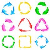9颜色箭头箭头图表刷新再装自转圈标志集合 免版税库存图片