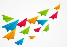 颜色纸飞机 免版税图库摄影