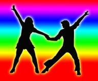 颜色结合回到跳舞夫妇70s 库存图片